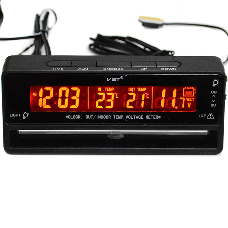1 Pc Car Auto LCD Digital Clock outside/inside <font><b>Thermometer</b></font> Temperature Voltage Meter Battery Monitor VHC78 T0.11
