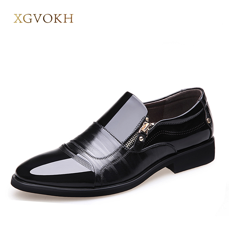 Spring Fashion Oxford Business Men Shoes PU Leather High Quality Soft Casual Breathable Men's Flat  Zip Shoes XGVOKH Brand