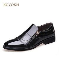 Printemps Mode Oxford Hommes D'affaires Chaussures PU En Cuir de Haute Qualité Souple Casual Respirant Hommes Plat Zip Chaussures XGVOKH Marque