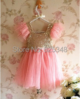 Baby Girls Dress Baby Toddler Sequined Tulle Party Kids Dress Ball Gown With Sparkling Polka Dots