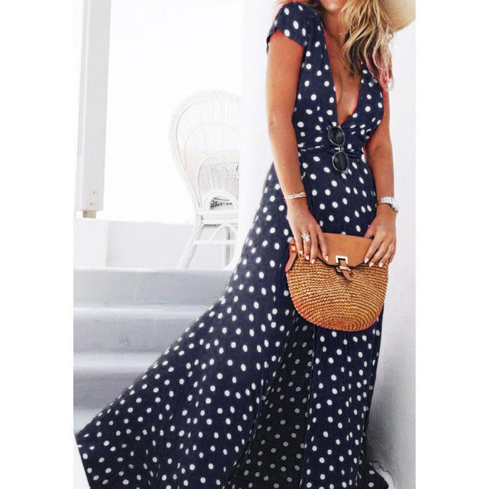 Wave Point Summer Dress Women Vintage Ladies Long Maxi Dress Bohemian Fashion Short Sleeve Print Women Sexy Dresses Beach 2020