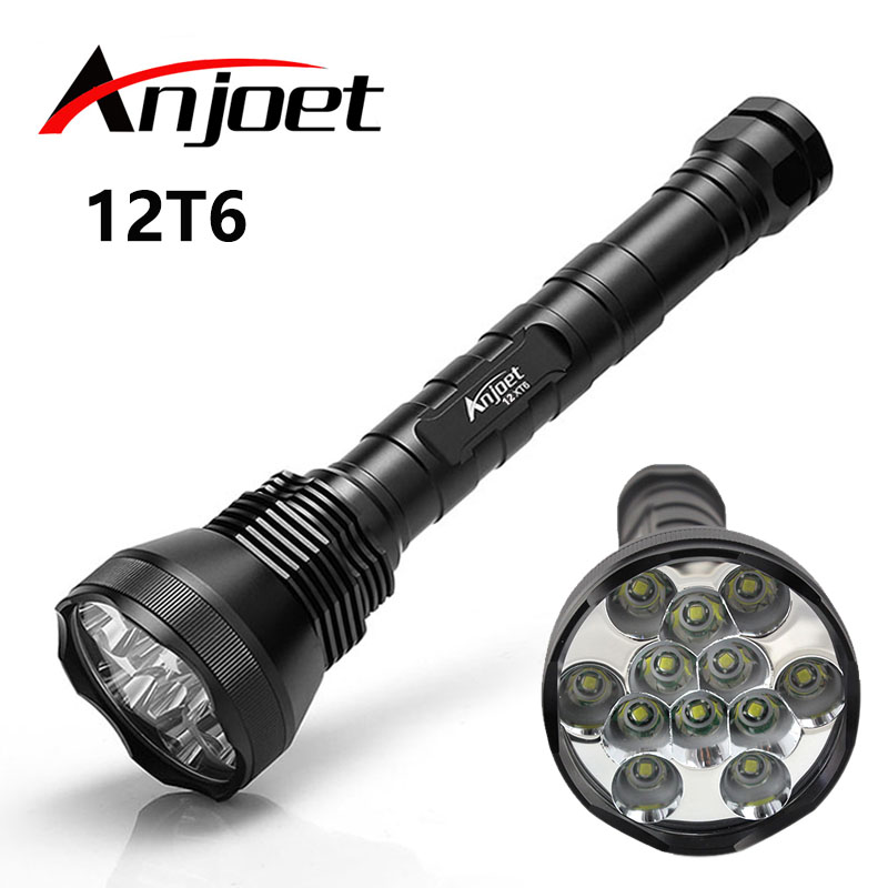 Anjoet 12T6 Tactical Flashlight 5 Mode 13000Lumen 12 * XM-L T6 LED Torch For Camping, Hiking Hunting Work Lamp 26650/18650 стоимость
