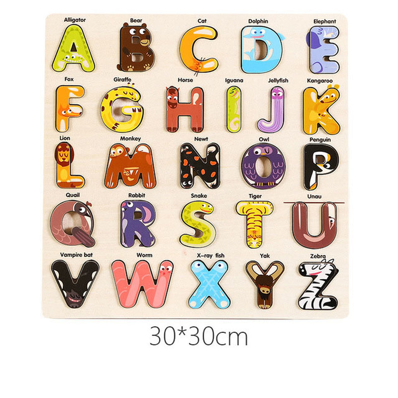 Digital Alphabet Shape Puzzles Wooden Puzzle Early Learning Children's Imposition Toys Children's Educational Toys Birthday Gift