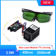 Focusable High Power 2.5W 450nm Blue Laser Module Laser Head for CNC Laser engraving machine with free Goggles