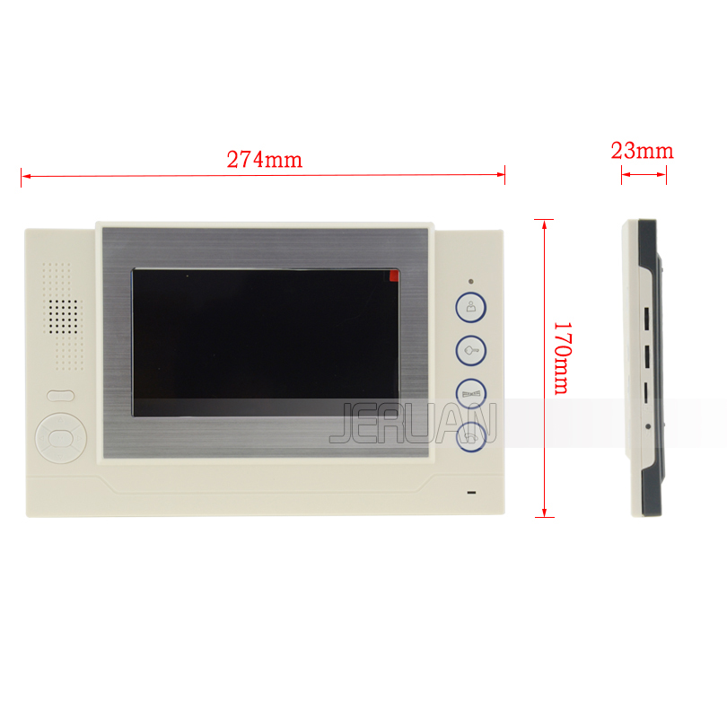 JEX 7 inch video intercom door phone system Only Monitor indoor Unit + Power Adapter FREE SHIPPING 708R jeruan 7 inch video intercom door phone system only monitor indoor unit power adapter free shipping 724