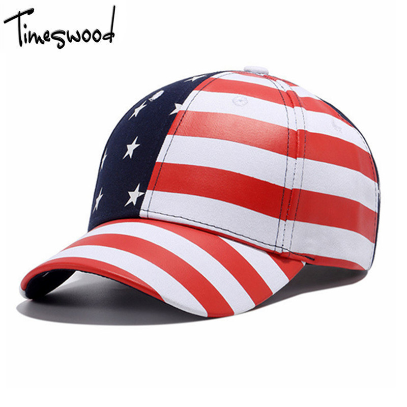 все цены на  [TIMESWOOD] New USA Baseball Cap America Flag Hat Bone Gorras Beisbol Casual Strapback For Men Women Caps Wholesale Dropshipping  онлайн