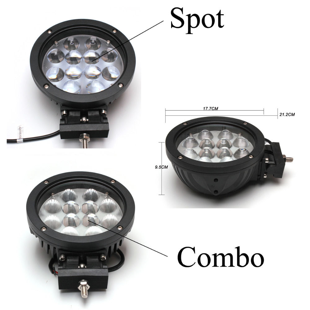 1Pc 60W Car LED Work Light for Indicators Motorcycle Driving Offroad Boat Car Tractor Truck SUV ATV Combo/spot lamp 12V 24V