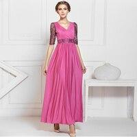 Pembe dantel yarım kollu kadın kat uzunluk dress maxi dress ücretsiz kargo