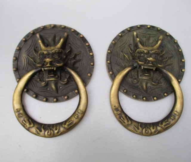 Collectible Home Decorated Crafts 1 Pair Chinese Handwork Old Brass Big Dragon  Door Knocker Style