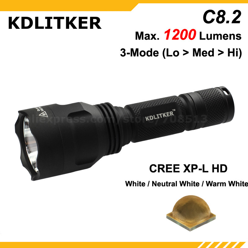 New KDLITKER C8.2 Cree XP-L HD White 6500K / Neutral White 5000K / Warm White 3000K 1200 Lumens LED Flashlight - Black (1x18650)