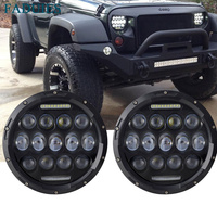 Black LED Headlights 7 Inch Round 75W Functional DRL High Low Beam Amber Turn Signal