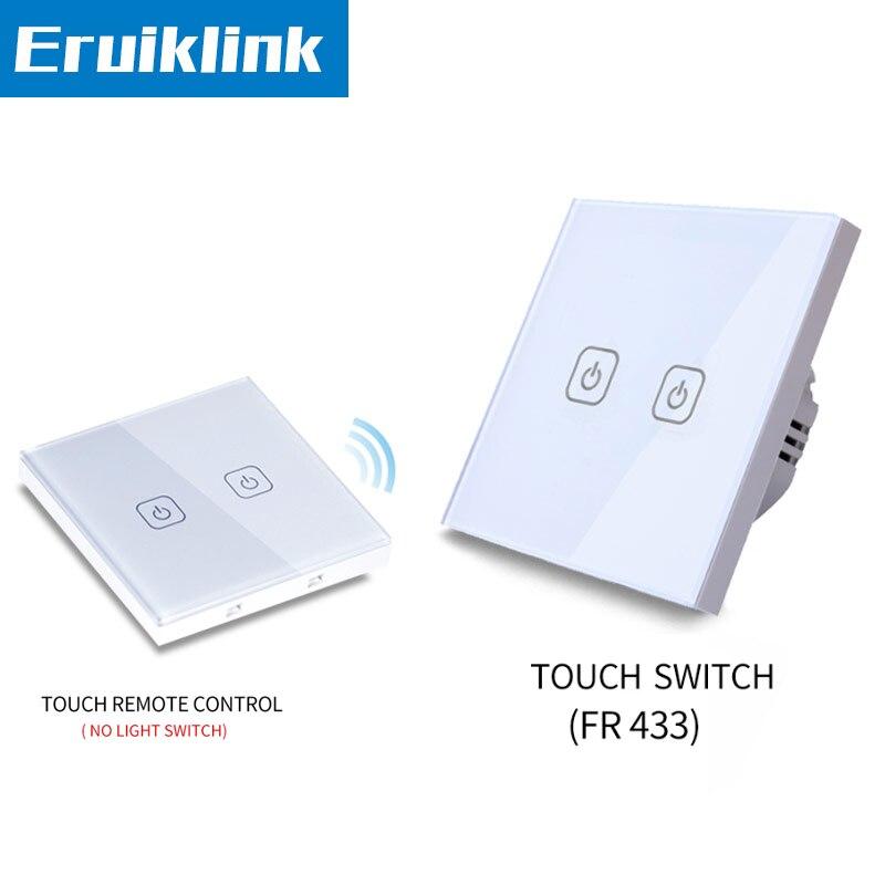 UE/de pared estándar táctil interruptor 1/2/3/pandilla 1 manera de Panel de vidrio de control remoto luz interruptores indicador LED RF433 de casa inteligente
