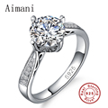 Women 925 Solid Silver Rings Set 1 Carat Sona CZ Diamond Engagement Ring Real 925 Sterling Silver Wedding Rings For Women JZR125