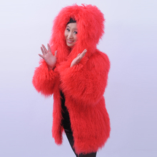 Tan fur fashion pure beach wool full leather long design red fur coat with a hood