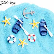 Джули Ван 20 штук подобраны в случайном порядке спасательный круг лодки весло звезды якорь смолы кабошон подвески кулон ювелирные изделия делая Декор телефона