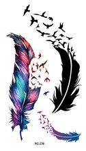 RC2239 Body Art Water Transfer Flash Fake Tattoo Sticker Temporary Tattoo Sticker Blue Black Wind Blown Feathers Taty Tatoo