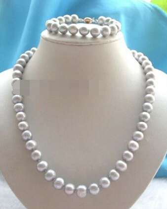 Free shipping 657  21 Genuine Natural 10-11mm Gray Round Pearl Necklace Bracelet setFree shipping 657  21 Genuine Natural 10-11mm Gray Round Pearl Necklace Bracelet set
