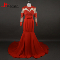 African 2017 New Evening Prom Dresses Red Chiffon Sexy Mermaid Long Sleeves Lace Cheap Turkish Real