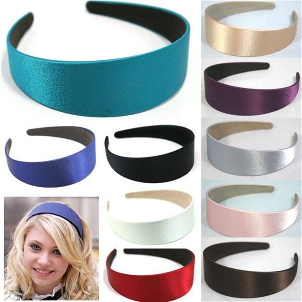 Supply Set Of 2 Plain Satin Alice Bands Headband Fabric Hair Band Ladies Girl Black 027 Kids' Clothes, Shoes & Accs.