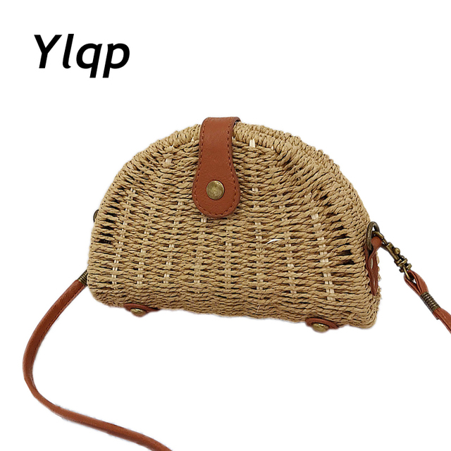 2018 New Fashion Handmade Woman Knitting Straw Bags Crossbody Shoulder Bag  Rattan Handbag Casual Purse Crochet 4ffc37f734