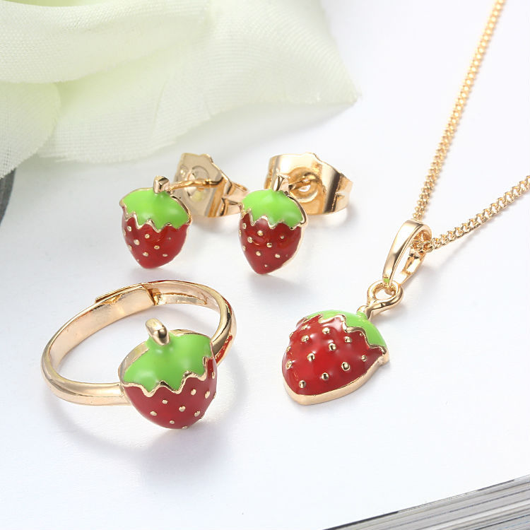 Baby Kids Jewelry Sets Ring Earrings Pendant Necklace Gold Color