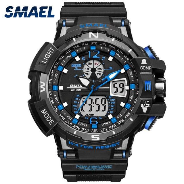 0b8266a15d78 Nueva SMAEL Marca Sport Reloj de Los Hombres LED Digital Resistente Al Agua  Reloj de Pulsera