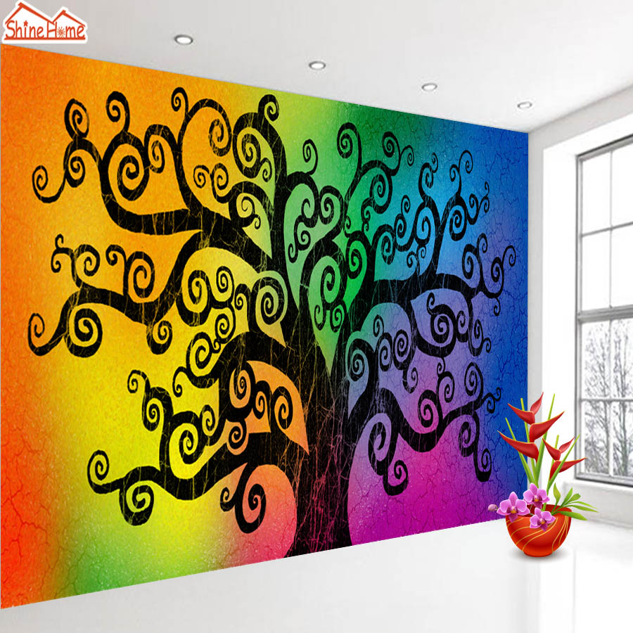 ShineHome-Large Custom Abstract Tree 3D Wall Murals Contact Paper Home Decor Living Room Kids Girls Bedroom Wallpaper-Roll-Size summer girls boys clothes kids set velvet hello kitty cartoon t shirt hoodies pant twinset long sleeve velour children clothing