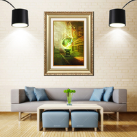 Artcozy Golden Framed Abstract Magic library Waterproof Canvas Painting For Home Decoration