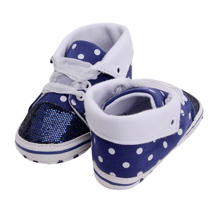 Infant Newborn Baby Girls Boy Glitter Polka Dots Autumn Lace-Up First Walkers Sneakers Shoes Adorable RibbonToddler Canvas Shoes 25