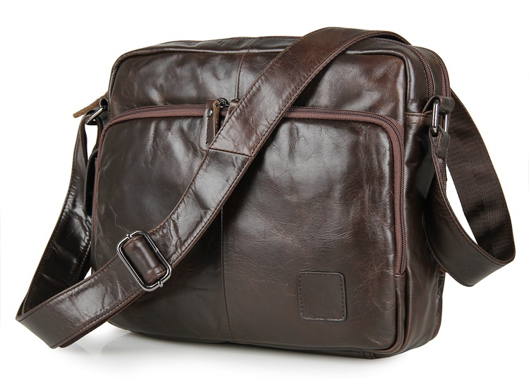 Nesitu Vintage Coffee Color Real Skin Genuine Leather Small Men Messenger Bags #M7332