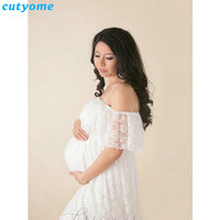 Cutyome Maternity Dress For Photo Shooting Lace White Dress Maternty Photography Props Short Sleeve Stretch Pregnant Clothing