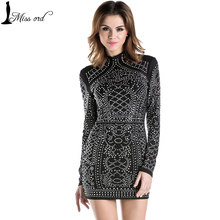 Free Shipping 2015 Sexy Geometric retro Rhinestone high-necked long-sleeved bodycon tight dress party dress FT2838