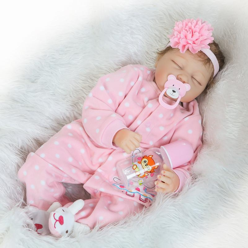 22 Inch Reborn Doll Baby Silicone Soft Cloth Body Princess Girl Babies With Pink Pajamas Children Birthday Xmas Best Gifts fashion soft silicone reborn baby doll 22 inch girl princess model doll toy with pink clothes cute baby dolls for children gifts