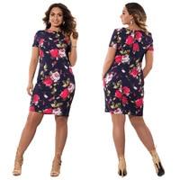 Big size 6XL 2017 Spring New Fat MM Woman Dress fashion flowers printing knee dresses plus size women clothing 6xl dress