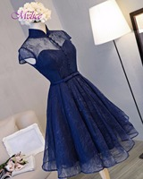Dreagel New Fashion High Neck Button Vintage Homecoming Dress 2017 Charming Sashes Party Gown Short Sleeve