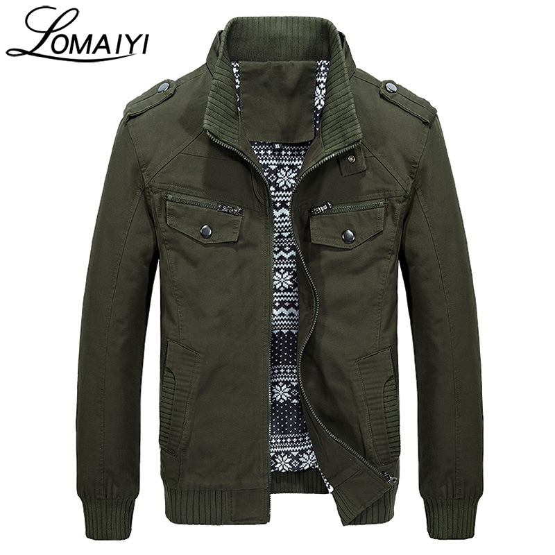 LOMAIYI Men's Military Style Pure Cotton Spring Autumn Jacket Men Casual Coat With Zipper Pockets Khaki Male Jackets,BM168-in Jackets from Men's Clothing