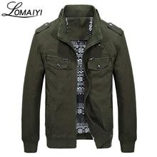 LOMAIYI Для мужчин армии Стиль натуральный хлопок Демисезонный куртка Для мужчин Повседневное пальто с карманами на молнии цвета хаки мужской куртки, BM168