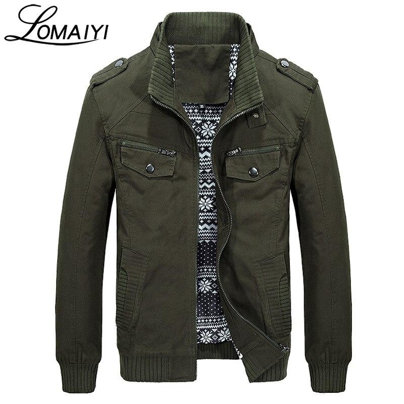LOMAIYI hommes Style militaire pur coton printemps automne veste hommes décontractée manteau avec poches à glissière kaki hommes vestes, BM168