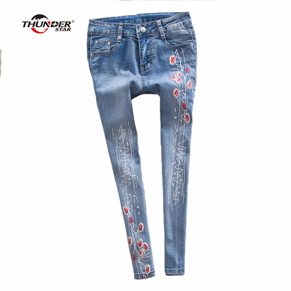 THUNDER STAR Women Flower printed Skinny Jeans femme Plus Size Female 2017 Ladies Blue Denim Pencil Pants Casual Brand Fashion беби берн в донецке