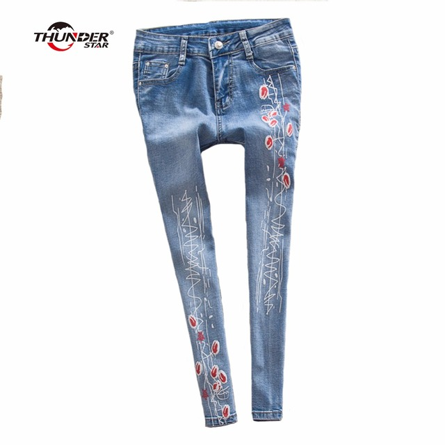 d95fcd671ab THUNDER STAR Women Flower printed Skinny Jeans femme Plus Size Female 2018  Ladies Blue Denim Pencil Pants Casual Brand Fashion
