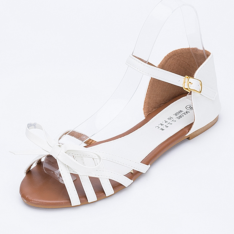 Womens Ankle Strap Leather Flat Sandals Strappy Low Heel Butterfly Knot  Fish Mouth Rome Ladies Gladiator Sandal Black White Pink-in Women s Sandals  from ...