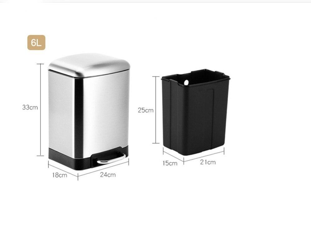 Image 2 - 6L Stainless Steel Fingerproof Step Pedal Trash Can Waste Basket Dust Bin Garbage Can Recycle Bin Silent Lid Toilet Kitchen-in Waste Bins from Home & Garden