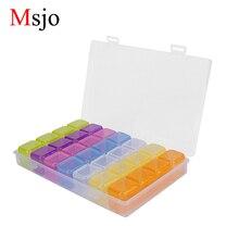 Msjo 28 Lattice di stoccaggio di gioielli in plastica Scatole di materiali PP Home Storage Bins per gioielli Bead Pill Makeup Organizer