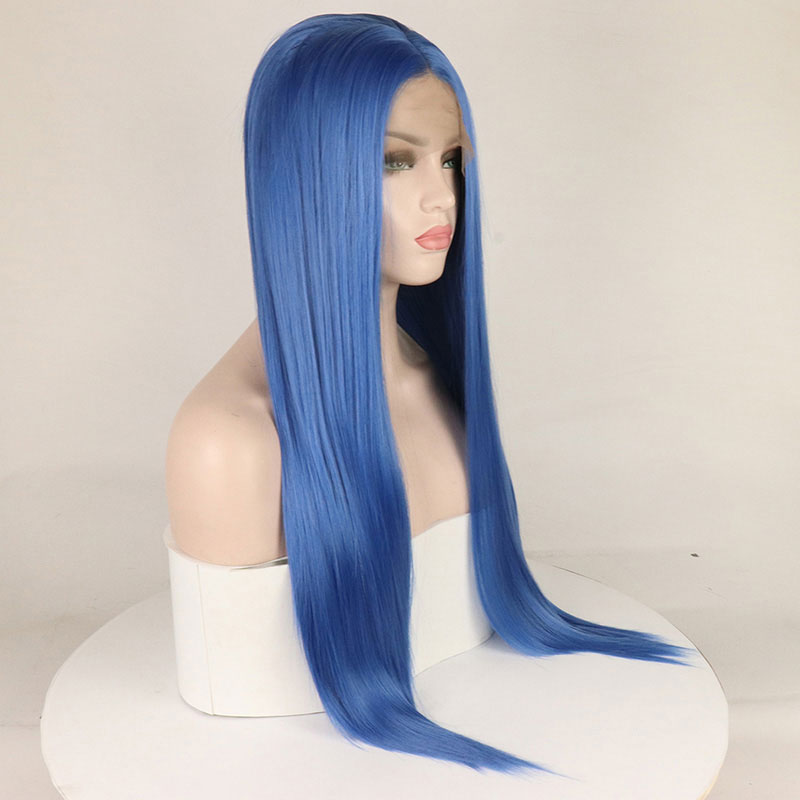 Image 5 - Bombshell Straight Synthetic Lace Front Wigs Blue Color Heat Resistant Fiber Hair Natural Hairline For White Women-in Synthetic Lace Wigs from Hair Extensions & Wigs