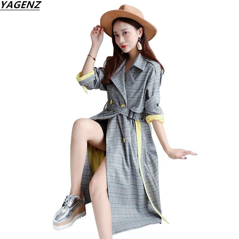 Women   Trench   Coat 2017 Autumn Long Female Windbreaker Overcoat Long Sleeve Cozy Lattice Outerwear Fashion Casual Tops YAGENZ