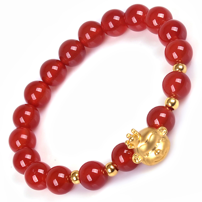 New 999 Pure 24K Yellow Gold 3mm Fine Bead &3D Crowned Monkey Red Agate Beads Link Woman's Lucky Bracelet