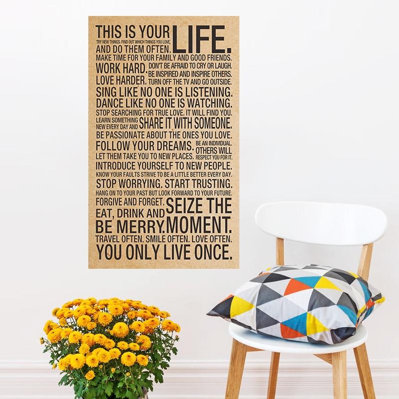 De motivación Inspirado de Kraft cartel Retro Esta Es Tu Vida de impresión Para