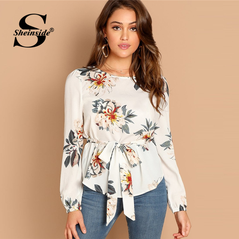 Sheinside Elegant White   Blouse     Shirt   Women Flower Print Belted Long Sleeve Top Womens OL Work 2019 Office Ladies Tops &   Blouses