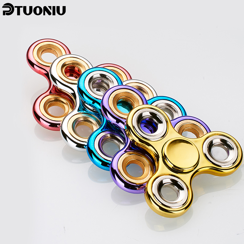 Multicolor Hot Tri-Spinner Fidget Toy Stress EDC Anti Stress Finger Hand Spinner...