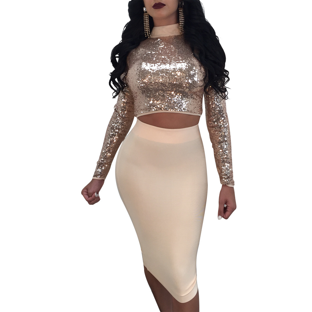2018 Women's Sequined Dresses Sexy Party Stand Neck Long Sleeve Sheath Bodycon Dress Sequins Hallow Out Bandages Dress Vestidos
